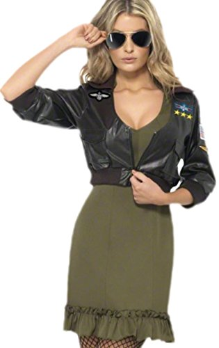 erdbeerloft - Damen Karnevalskomplettkostüm Kleid Navy Fighter , L, (Bomber Gun Aus Jacke Kostüme Top)