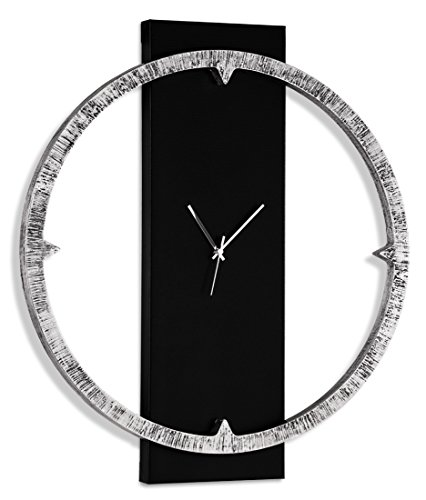 Pintdecor Bague Brillant Horloge, MDF, Argent/Noir, 80 x 70 x 7 cm