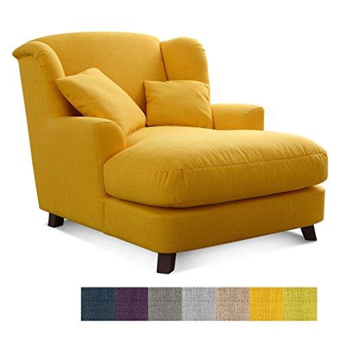 CAVADORE XXL-Sessel Assado/Großer Polstersessel in Gelb mit Holzfüßen, Großer Sitzfläche,...