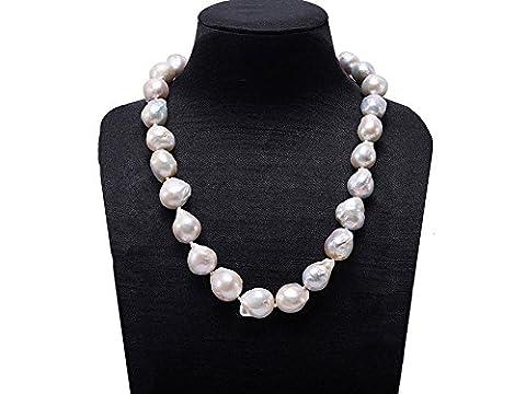 jyx 11–15mm Halskette Süßwasser-Zuchtperle barock weiß