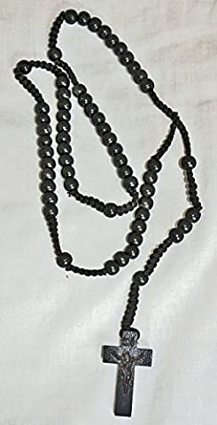 Wooden Bead - Black Cord Rosary with Cross (Crucifix), Strong
