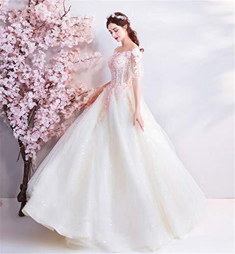 LYJFSZ-7 Hochzeitskleid,Elegante Damen Spitze Stickerei Trägerlos Flash Perle Braut Brautkleid...