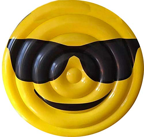Materassino Gonfiabile Ø150 cm in PVC a Forma di Emoji Ranieri Face Occhiali Giallo