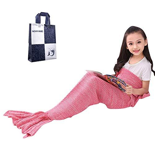 Meerjungfrau Flosse Decke - NEWYANG Decke Meerjungfrau, Meerjungfrau Decke Rosa,Meerjungfrau Decke Kinder,Geschenke Für Mädchen,Spielzeug Für Mädchen,Weihnachtsgeschenke Für Kinder (Kid Rosa Pink)