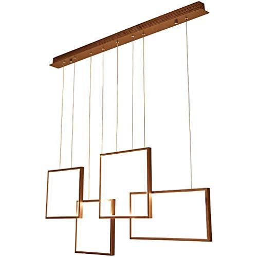LED pendentif lampe moderne Braun Design pendule lampe 4 forme rectangulaire Creative pendentif pendentif salle à manger lampe intérieur éclairage décoratif