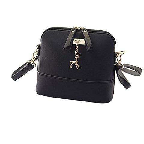 Goodsatar Neue Frauen Kuriertaschen Vintage kleine Shell Leder Handtasche Beiläufige Tasche (Schwarz)