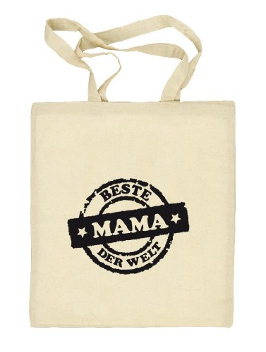 Shirtstreet24, Beste Mama der Welt Stempel, Muttertag Mutter Stoffbeutel Jute Tasche (ONE SIZE) Natur