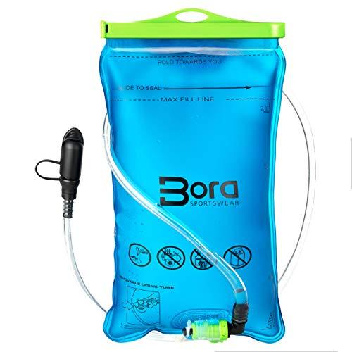 BoraSports Trinkblase 2L mit Beissventil - BPA-frei, antibakteriell und auslaufsicher für jeden Trinkrucksack (2 Liter)  -