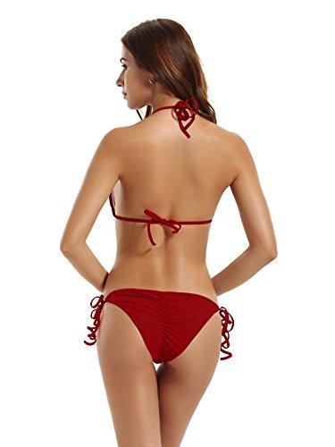 Zeraca Donna Retro Push-up Bikini Reggiseno imbottito Triangolo Donne Swimwear Dark Red