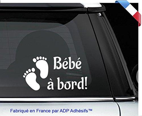 """Sticker, adhésif blanc """"Bébé à bord!"""" pieds de bébé Autocollant 10x20cm"""