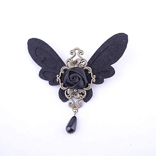 Broche de aleación con diseño de flores y mariposas negras para mujer, estilo gótico