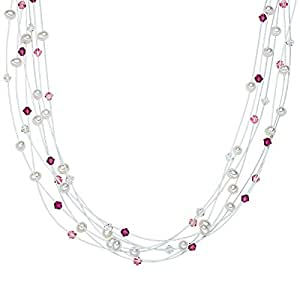 Valero Pearls - Collier de perles - Perles de culture d'eau douce - Fil en acier inoxydable - Argent sterling 925 - Bijoux de perles, bijoux en acier inoxydable - 400531