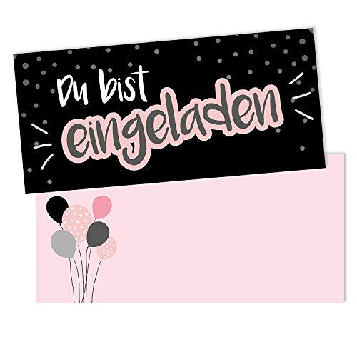 inladungskarten mit Umschlägen I DIN lang I Einladung Set Kinder-Geburtstag zum Ausfüllen für Kinder Mädchen schwarz rosa I dv_099 schwarz ()