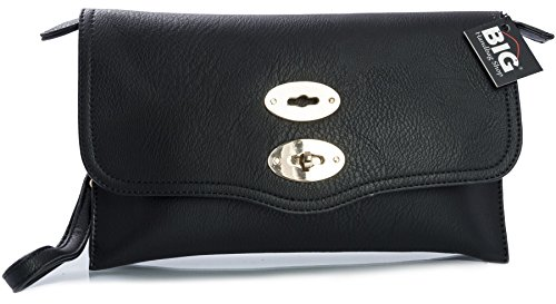 Big Handbag Shop - Borsetta senza manici donna (Black (KL168))