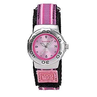 Reloj deportivo Kahuna para chicas jóvenes o mujeres adultas con correa de tela, resistente al agua, y con función fecha. Color rosa