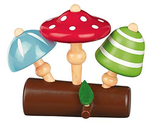 Moses. 16121 Krabbelkäfer Pilz-Kreisel-Set | 3 Bunte Kinderkreisel aus Holz | Für Kinder ab 3 Jahren