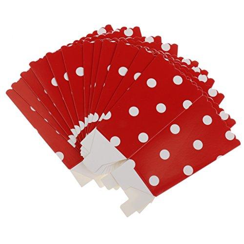 12x popcorn Schlange Box / Eimer Punkt papier Film Treat Party Essen / Beutel Tasche - Rot