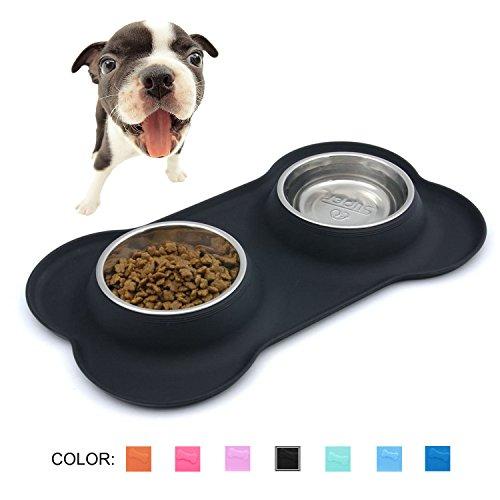 SuperDesign Doppelnapf mit hochwertiger und rutschfester Silikonmatte in Knochenform, geeignet für kleine Hunde oder Katzen, spülmaschinenfest und - Erhöhte Welpen Schalen