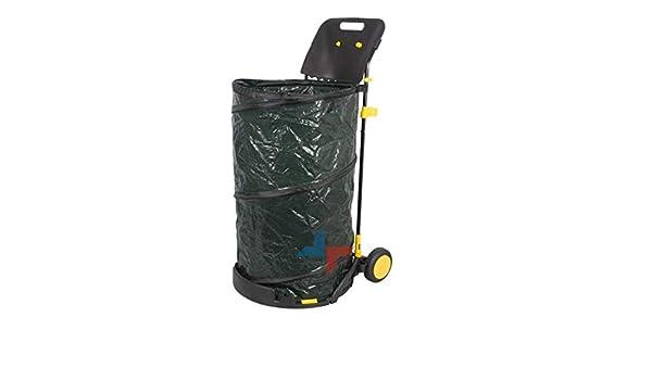 Cestino Con Rotelle Con Sacco Da Giardino Raccogli Foglie Rifiuti 150 LT Kinzo