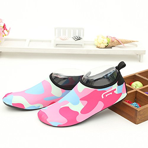 Zhuhaitf Unisex Beach Lightweight Rubber Sole a Piedi Nudi Water Shoes Ballet Yoga Snorkeling Nuotare Diving Socks Red
