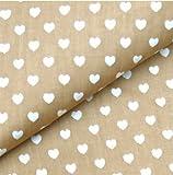 0,5m Stoff Herzen beige weiß 100% Baumwolle Meterware Herz 1,4m breit