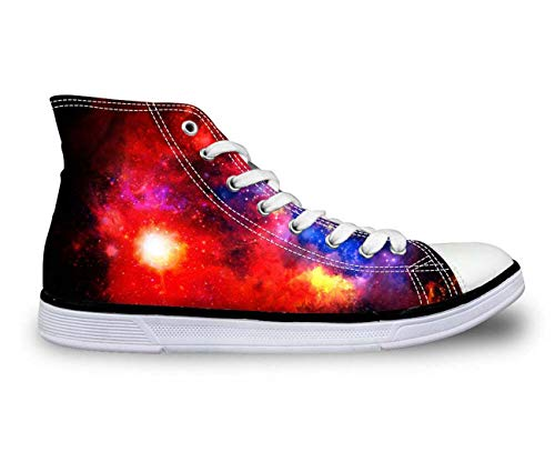 Galaxy High Top Canvas Shoes Women Fashion Flat Comfort Shoes Lace-up Sneakers 8 Fashion Galaxy US 6