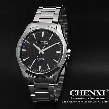 Schöne Uhren, Schlichtes Design Kleid chenxi Herrenuhren japanische Quarz Kalender wasserdicht silber Stahlband ( Farbe : Schwarz )