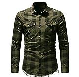 Luckycat Männer Slim Fit Button Kariertes Hemd mit Tasche Langarmshirts Bluse Mode 2018