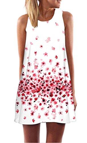 Minetom-Donna-Abito-Estivo-Vestito-Della-Gilet-Senza-Maniche-Beach-Stampato-Abito-Corto-Mini-Vintage-Boho-Fiore-Stampato-Dress-Rosa-IT-38