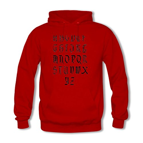 weileDIY English alphabet DIY Custom Women's Classic Hoodie Sweatshirt Red