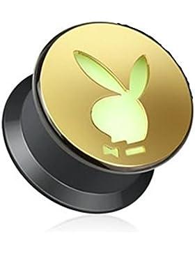 Paula & Fritz® Plug aus Kunststoff mit Schraubverschluss gold ausgeschnittener Playboy Bunny (leuchtet im dunkeln...