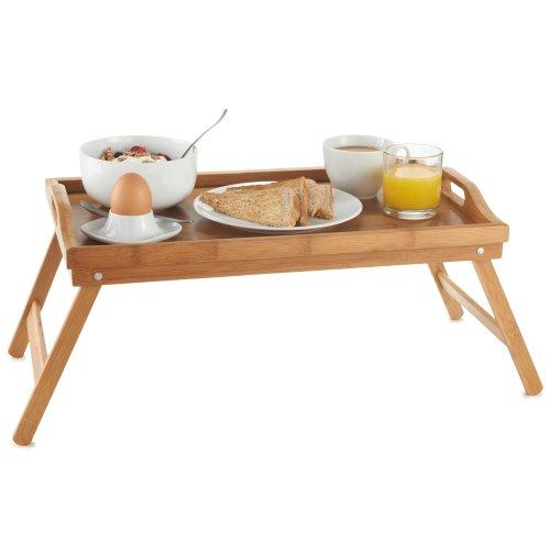 Vonhaus Plateau Lit/Petit déjeuner en bambou - 50 x 30 x 25 cm