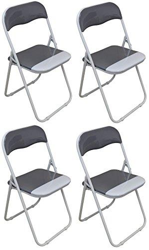 Chaise pliante rembourrée - pour le bureau - gris clair/blanc - lot de 4