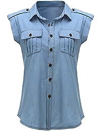 ?Femme lumière bleu Cowboy sans manches chemise veste jean chemise femme - M