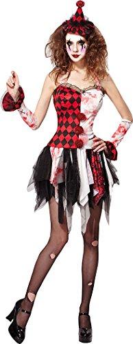 Damen Halloween Horror Party Kostüm Hofnarr Damen unheimlich Kostüm Größe 10-14