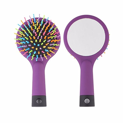 Ruikey Peigne à cheveux de poignée en plastique anti-statique arc-en-ciel créative, peigne airbag + miroir, pour les soins quotidiens des cheveux