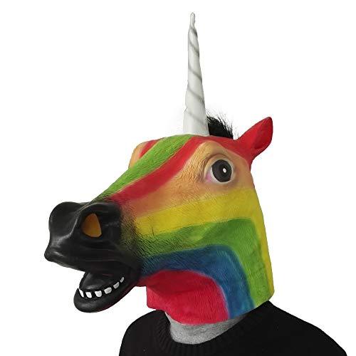 Halloween Rainbow Horse Unicorn Mask Novelty Creepy Head Latex Costume Theater Prop Party,Mix ()