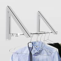 Becko Folding Wall Mounted Clothes Hanger/Clothes Drying Racks/Clothes Hanging System for Space Saving * 2 Packs