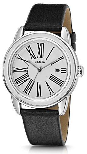 F.Steen Herren Plateau-FS3C1 Japan Quarz Trendy Look Silber Gehäuse Fashion Analog Uhr mit echtem Lederband