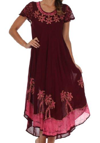 Sakkas A009 Batik-Palme mit Flügelärmeln Kaftan Kleid/Cover Up - Braun/Pink - One Size -