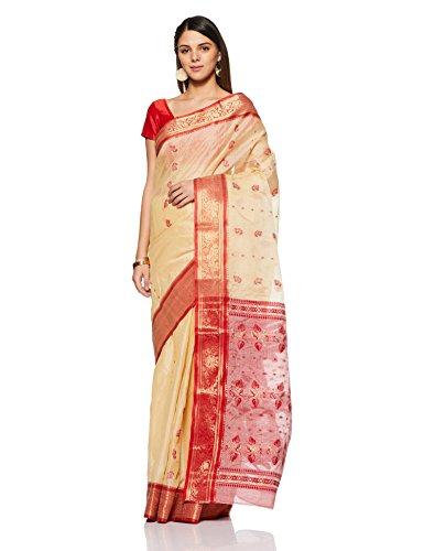 Gocoop Silk Saree Without Blouse Piece (GCSMTSCSAA0160_Beige_One Size)
