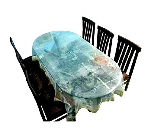 Classic Transparent 6 Seater Oval Dining Table Cover with Golden LACE (60X90 INCHES)