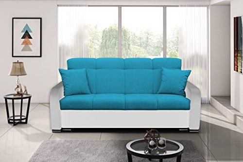Blau Modern Schlafsofa (Modernes Sofa Schlafsofa Kippsofa mit Schlaffunktion Klappsofa Bettfunktion mit Bettkasten Couchgarnitur Couch Sofagarnitur 3er PAUL (Blau + Weiß))