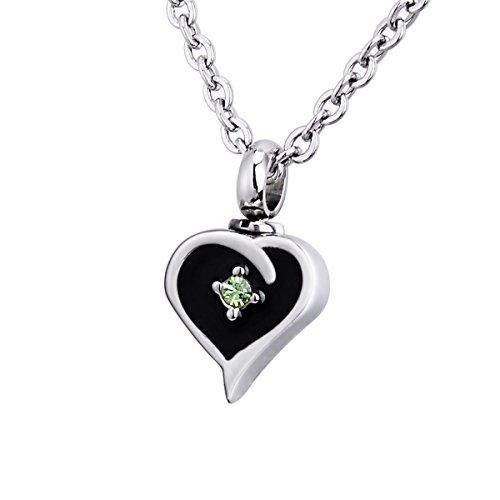 Verbrennung Asche Diamant Pfirsich Herz Urne Halskette Halter Memorial Anhänger Edelstahl Wasserdicht Anhänger Black; Olive-green ;