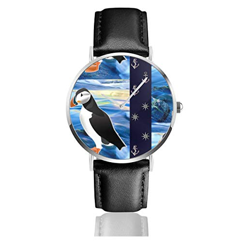 Armbanduhr Quarzuhr Nautische Puffin Casual Uhren für Herren Damen Damen mit schwarzem Leder (Nautische Uhr)