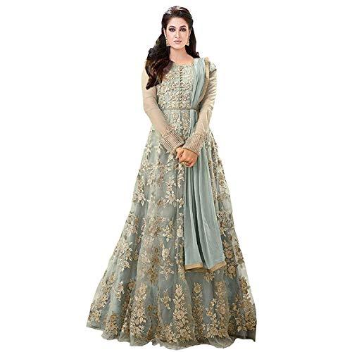 Royal Export Women's Cotton Net A-line Long Party Wear Dress (Grey, XX-Large)