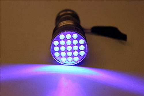 Linterna UV 395-400 nm impermeable con 21 ledes de luz negra ultravioleta, lámpara de luz de secado...