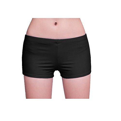 Fardas Damen Badeshorts Badeanzug Badehose Bikinihose Boyleg Beach Shorts Schwarz