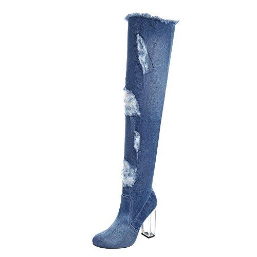 Ital-Design Overknees Damen-Schuhe Overknees Pump High Heels Reißverschluss Stiefel Blau, Gr 38, Hp-43-