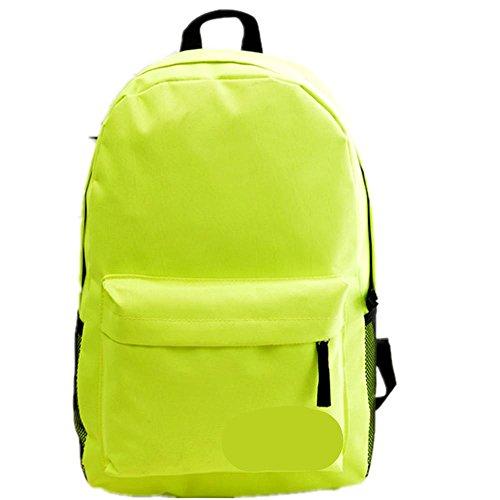 Xiuxiandianju 20-35L zaino single uomini e donne gli studenti in un solido colore borse della chiusura lampo , fruit green fluorescent green
